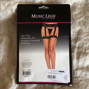black fashion nova fishnet stockings